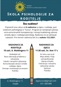 Škola psihologije za roditelje - poziv na radionice